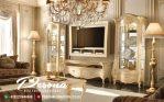 Bufet Tv Mewah Jepara Desain Finising White Kombinasi Gold