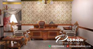 Meja Kantor Set Direktur Di Sertai Sofa Kursi Tamu Mewah
