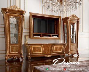 Meja Dan Bufet Tv Jati Mewah Klasik Terbaru, Set Bufet Tv Jati Jepara