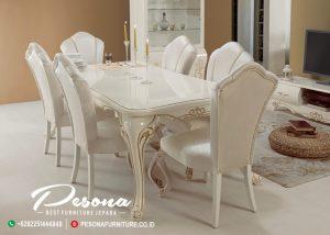 Meja Makan Putih Glos Mewah Klasik, Set Kursi Makan Glos Terbaru
