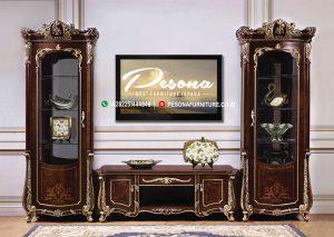 Bufet Tv Jati Terbaru Ukir Jepara, Set Bufet Tv Mewah, Meja Tv Klasik Mewah