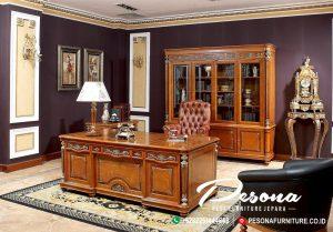 Jual Meja Kantor Mewah Minimalis, Meja Kantor Kayu Jati Ukir Klasik Minimalis