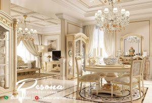 Meja Makan Bundar Model Mewah Elegan Warna Gold, Jual Meja Makan Mewah