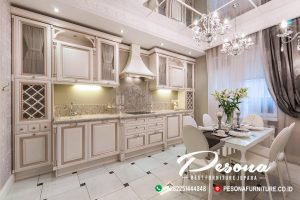 Model Kitchen Set Minimalis Klasik Ruang Dapur Dengan Dihiasi Meja Makan