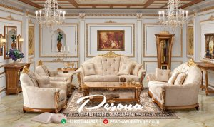 Set Sofa Tamu Mewah Jati Tpk Dengan Kombinasi Ukir Klasik Jepara