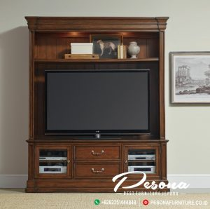 Bufet Tv Kayu Jati Model Minimalis Klasik, Set Bufet Tv Minimalis
