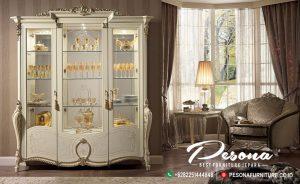 Almari Kaca Hias Mewah Jepara Ukir Klasik Khas Mebel Furniture