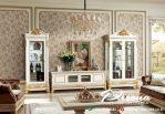 Desain Bufet Tv Ukir Klasik Mewah Terbaru Dengan Kombinasi Gold