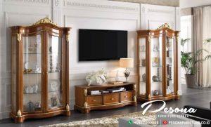 Jual Bufet Tv Full Kaca Kayu Jati Jepara Mewah Model Terbaru