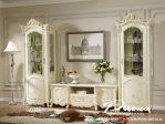 Set Bufet Tv Mewah Cat Duco Putih Ukir Klasik Terbaru