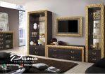 Set Bufet Tv Minimalis Dihiasi Ukir Gold Nuansa Mewah Klasik Jepara