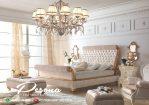 Tempat Tidur Mewah The Gold Klasik Full Bungkus Kain Jok Terbaru