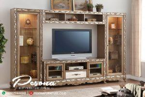 Bufet Tv Dengan Almari Ukir Eropa Mewah Kombinasi Klasik