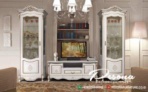 Bufet Tv Mewah Cabinet Duco Klasik Dengan Nuansa Kombinasi Ukir