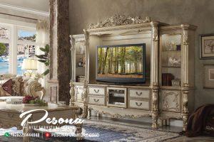 Lemari Bufet Tv Mewah Jepara Dengan Desain Klasik Finising Gloss