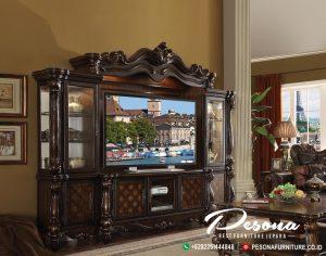 Lemari Meja Tv Kayu Jati Dengan Model Mewah Klasik Ukir Jepara