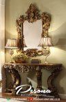 Meja Konsul Kaca Hias Klasik Mewah Dengan Kombinasi Warna Gold