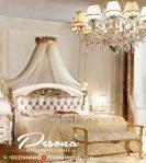 New Desain Tempat Tidur Klasik Mewah Duco Putih Kombinasi Gold