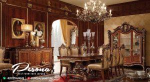 Set Meja Makan Ukir Mewah Desain Klasik Nuansa The King