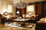 Sofa Mewah Dengan Ukir Klasik Kain Jok Gold Kombinasi Natural