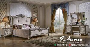 Tempat Tidur Mewah Duco Silver Kombinasi Ukir Klasik Terbaru