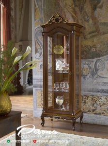 Lemari Hias Kaca Jati Klasik Mewah Produk Furniture Jepara