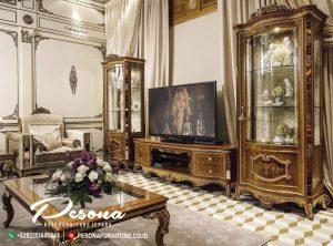 Meja Dan Bufet Canibet Tv Kayu Jati Mewah Premier Gold Klasik
