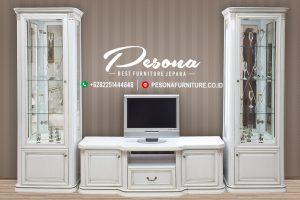 Set Bufet Tv Jepara Model Minimalis Terbaru Dengan Duco Putih