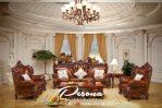 Set Sofa Tamu Mewah Ukir Classic Dengan Model Ruang Tamu Besar