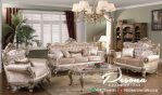 Sofa Ruang Tamu Mewah Classic Dengan Kombinasi Silver Gloss