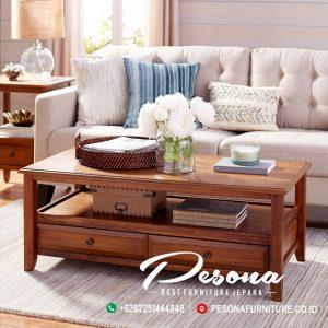 Meja Ruang Sofa Tamu Kayu Jati Minimalis