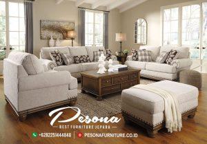 Desain Sofa Ruang Tamu Elegan Kayu Jati Minimalis