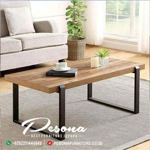 Meja Sofa Tamu Modern Kayu Besi