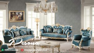 Set Sofa Ruang Tamu Mewah Warna Biru