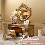 Meja Rias Ukir Mewah Gold Full Kaca Luxury