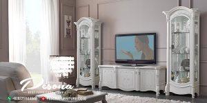 Bufet Tv Klasik Mewah Nuansa Warna Silver Gloss, Set Bufet Tv Jepara Terbaru