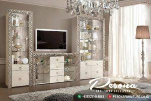 Bufet Tv Mewah Ukir Klasik Silver Terbaru, Set Bufet Tv Mewah Jepara