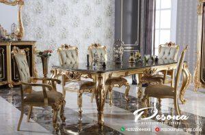 Meja Makan Mewah Kombinasi Ukir Klasik, Set Meja Makan Modern