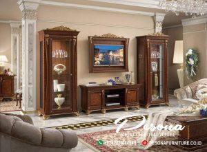 Set Bufet Tv Ukir Klasik Mewah, Jual Bufet Tv Jati Mewah Modern