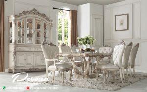 Meja Makan Mewah Jepara Terbaru Duco Putih Kombinasi Ukir Klasik