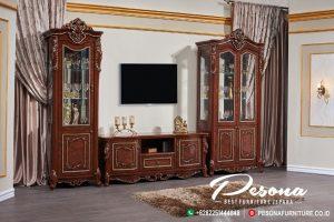 Set Bufet Tv Jati Classic Mewah Jepara Dengan Kombinasi Gold
