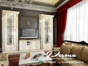 Furniture Set Bufet Tv Minimalis Duco Putih Kombinasi Gold Terbaru