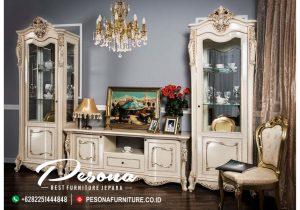Furniture Bufet Dan Meja Tv Mewah Duco Putih Kombinasi Gold