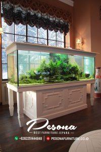 Meja Aquarium Ikan Hias Duco Putih Desain Mewah Klasik