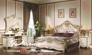 Set Tempat Tidur Mewah Duco Ukir Gold Bungkus Kain Jok