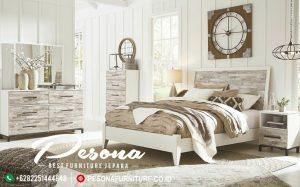 Tempat Tidur Modern Putih Rustik